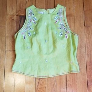 Green embroidered top with zipper back